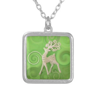 Silvery Reindeer with green swirls Silver Plated Necklace