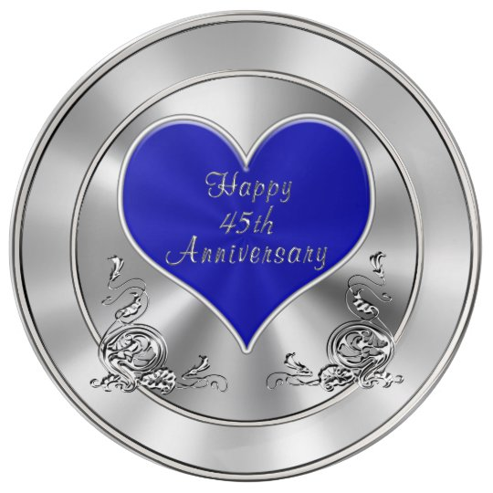 Silvery Sapphire look Happy 45th Anniversary Gifts Plate