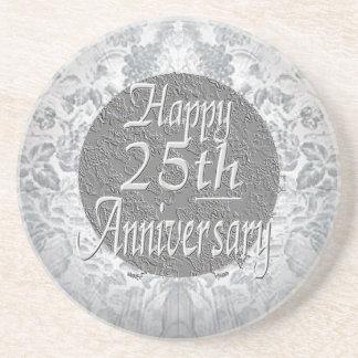 Silvery-Silver 25th Anniversary Sandstone Coaster