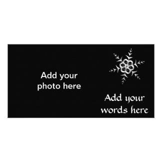 Silvery Snowfall at Midnight Photo Card