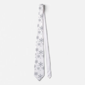 Silvery Snowflakes Winter Wedding Neck Tie