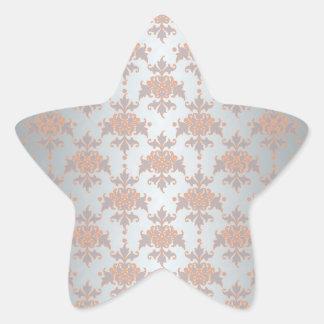 Silvery White Grey and Peachy Orange Damask Star Sticker