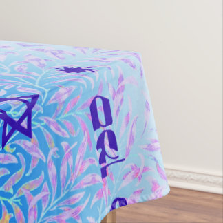 Siman Tov and Mazal Tov blue violet Tablecloth
