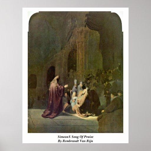 Simeon�S Song Of Praise By Rembrandt Van Rijn Poster