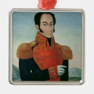 Simon Bolivar Silver-Colored Square Decoration