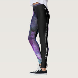 """Simone"" Purple Abstract with strip Leggings"