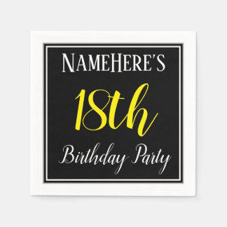 Simple, 18th Birthday Party w/ Custom Name Disposable Napkin