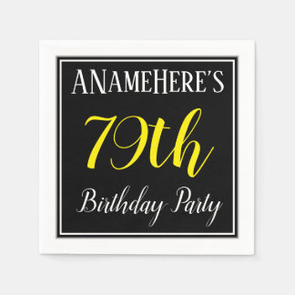 Simple, 79th Birthday Party w/ Custom Name Disposable Serviettes