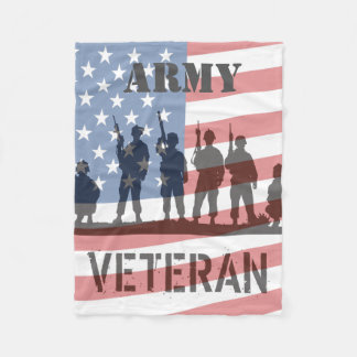 Simple American Flag and Soldiers - Army Veteran Fleece Blanket