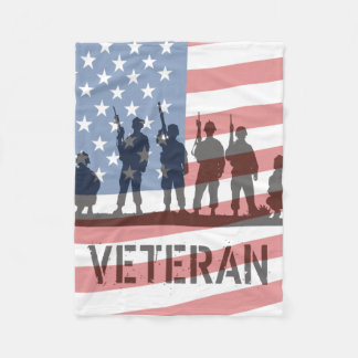 Simple American Flag and Soldiers - Veteran Fleece Blanket