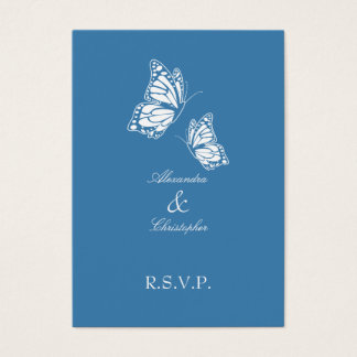 Simple Amparo Blue Butterfly RSVP Note Mini Business Card