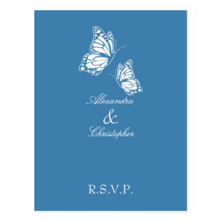 Simple Amparo Blue Butterfly RSVP Postcards