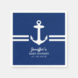 Simple Anchor Nautical Stripes Baby Shower Disposable Napkins
