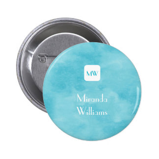 Simple and Chic Aqua Turquoise Monogram With Name 6 Cm Round Badge