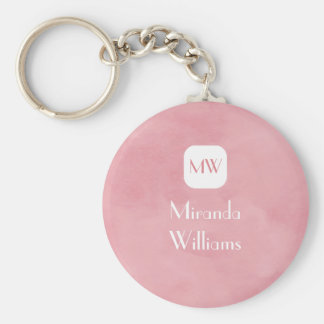 Simple and Chic Blush Pink Monogram With Name Basic Round Button Key Ring