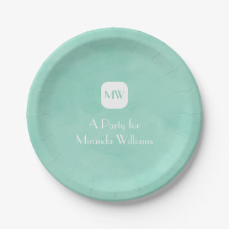 Simple and Chic Mint Green Monogram With Name 7 Inch Paper Plate