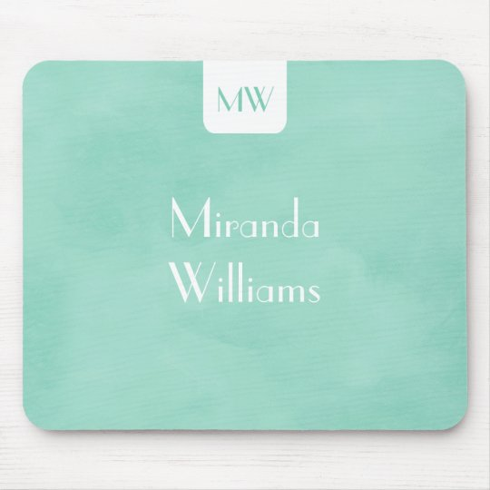 Simple and Chic Mint Green Monogram With Name Mouse Mat