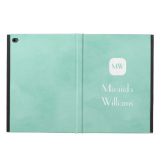 Simple and Chic Mint Green Monogram With Name Powis iPad Air 2 Case