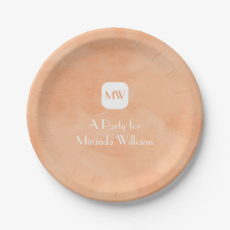 Simple and Chic Peach Orange Monogram With Name Paper Plate