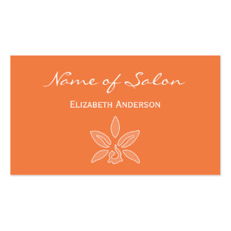 Simple and Chic Salon in Celosia Orange Floral Business Card Templates