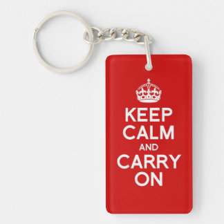 Simple and classic Keep Calm and Carry On Single-Sided Rectangular Acrylic Key Ring