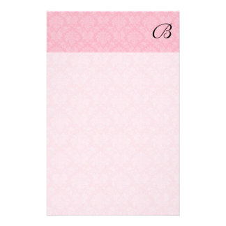 Simple and Classic Pink Damask with Black Monogram Stationery Paper