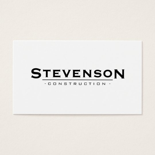Simple and Classic White Construction Company Business Card