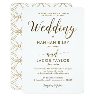 Simple and Elegant Copper Look with White Wedding Card