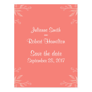 Simple and Elegant Coral Pink Save the Date Postcard