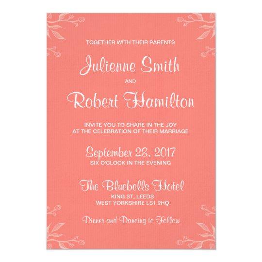 Simple and Elegant Coral Pink Wedding Invitation