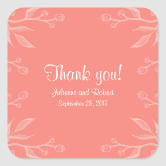 Simple and Elegant Coral Pink Wedding Sticker