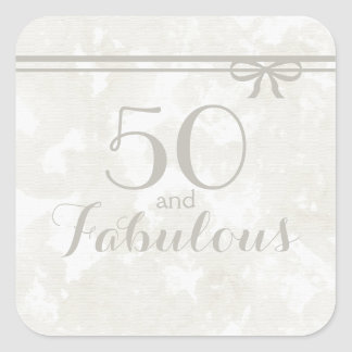 "Simple and Elegant Gray ""50 and Fabulous"" Square Sticker"