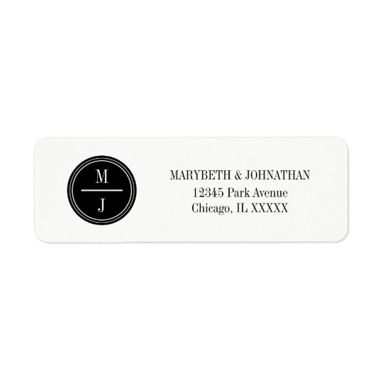 Simple and Elegant Monogram Wedding  Address Label
