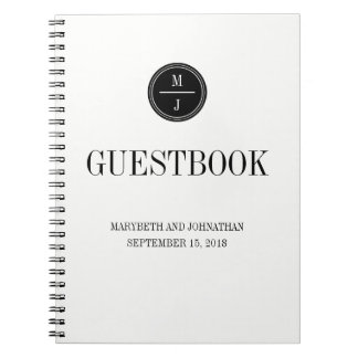 Simple and Elegant Wedding Guest Book Notebook
