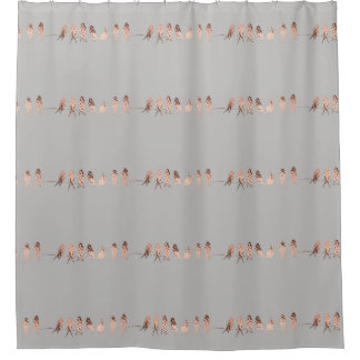 Simple and Modern Copper Birds on A Wire Design Shower Curtain