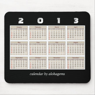 Simple and Neat 2013 Calendar Mousepad