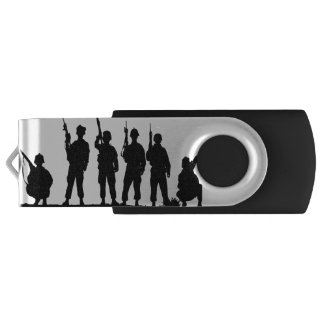 Simple and Powerful Soldiers Silhouette USB Flash Drive