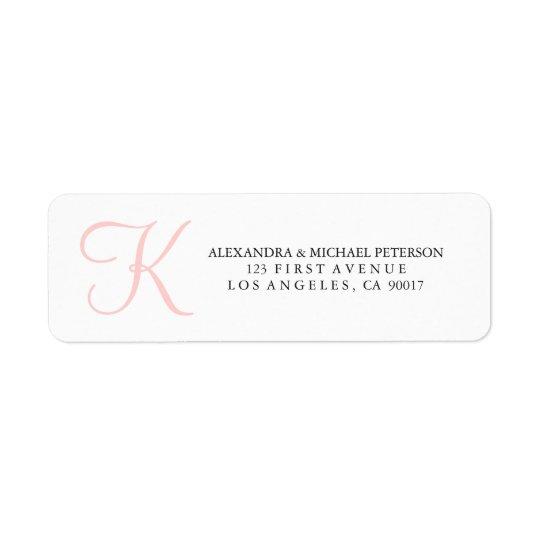 Simple and Trendy Pink Monogram Return Address Label