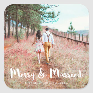 Simple and Whimsical Merry and Married Photo Square Sticker