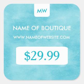 Simple Aqua Chic Boutique Monogram Price Tags Square Sticker