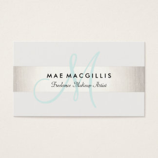 Simple Aqua Monogram Modern FAUX Silver Striped Business Card