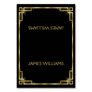 Simple Art Deco Black And Gold Place Card Table Card