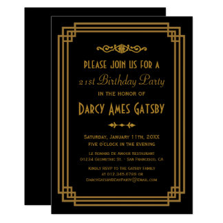 Simple Art Deco Black Birthday Party Invites