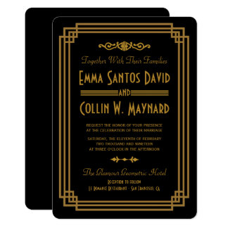 Simple Art Deco Black Wedding Invitations