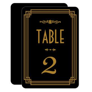 Simple Art Deco Black Wedding Table Numbers Card