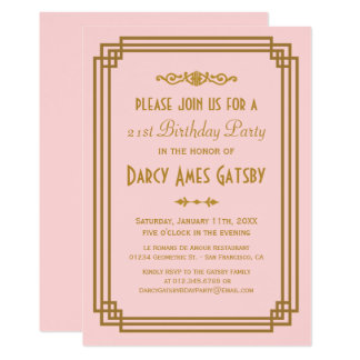 Simple Art Deco Pink Birthday Party Invitations