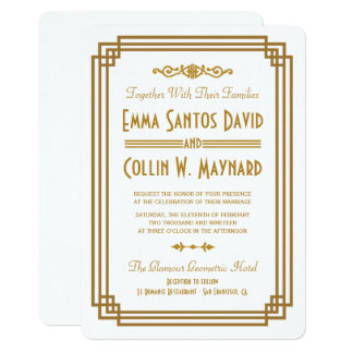 Simple Art Deco White Wedding Invites