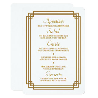 Simple Art Deco White Wedding Menu Card