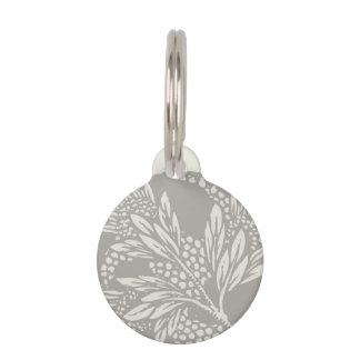 Simple Art Nouveau Floral Design Gray and Tan Pet Name Tag