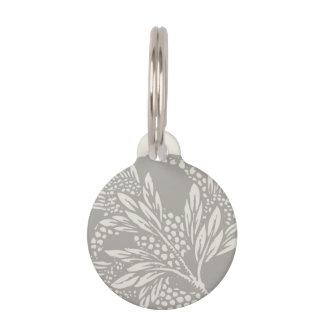 Simple Art Nouveau Floral Design Gray and Tan Pet Tag